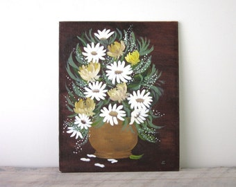 Vintage Signed Oil Painting White and Yellow Daisy Flowers
