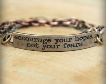 "2pc Indie Inspirational Quote Interchangeable Bracelet ... ""Encourage your hopes, not your fears"""