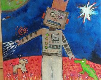 "Original Outsider Brut Art Painting Robot King on Mars 8"" x 8"" M - Free Shipping!"