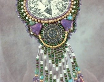 Necklace, Hummingbird, Beaded, Bead embroidered, scrimshaw, purple, green,  Embroidered Necklace