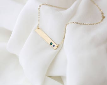 Birthstone Bar Necklace // Mother's Day Gift Crystal Birthstone Necklace - Personalized Gold or Silver Necklace .