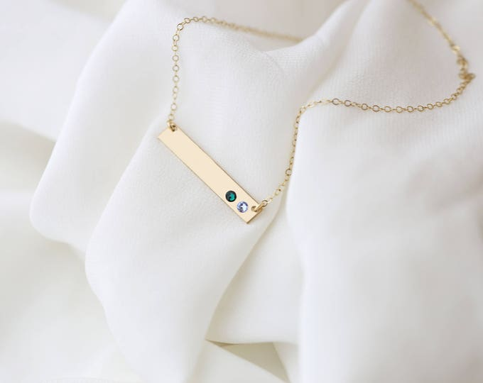 Birthstone Bar Necklace // Mother's Day Gift Crystal Birthstone Necklace - Personalized Gold or Silver Necklace . August Birthstone Peridot