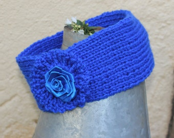 Ear warmer , Head band , Head wrap , Blue head band , Winter head band , Knitted head wrap , Woollen head wrap .