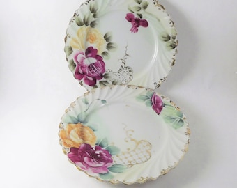 Rose Plates, Hand Painted Rose Plates, Antique Floral Plates, 2 Dessert Plates, Pink Yellow Flower Plates with Gold band, Made in Japan