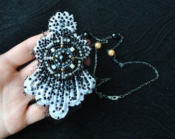 Couture Hand BEADED NECKLACE/BEADBROOCH/ Lace necklace/ Beaded Necklace/