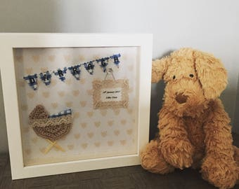 Personalised baby picture frame, baby gift, bunting, moses basket, crib, nursery art, birth announcement, christening gift, baby name.