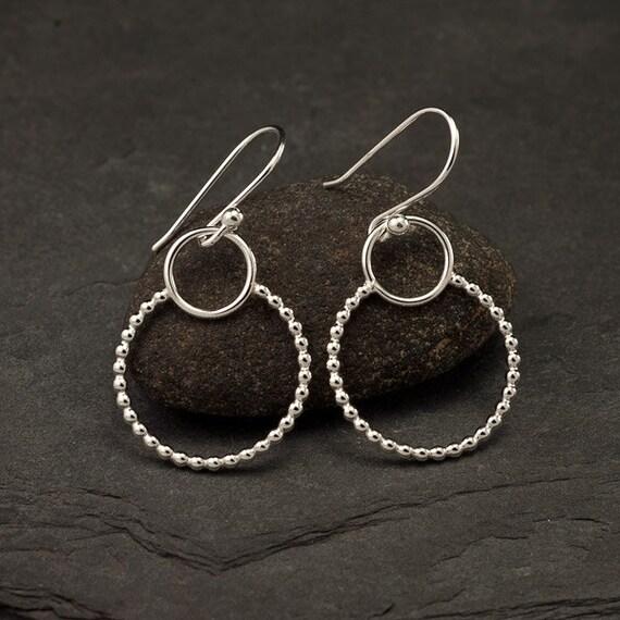 Sterling Silver Earrings- Silver Dangle Earrings- Silver Hoop Earrings- Simple Silver Earrings- Sterling Silver Jewelry Handmade