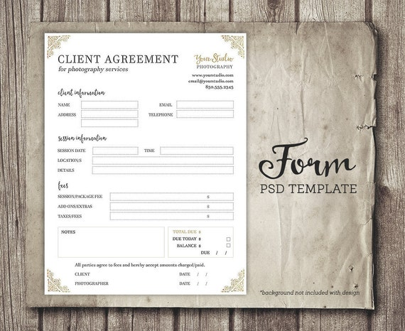 Client Agreement Form For Photographers  Photography Business Forms