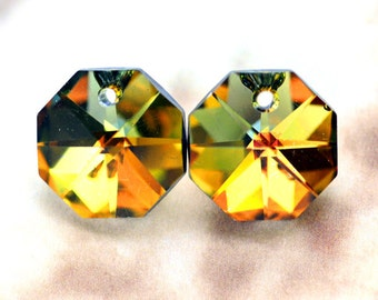 14mm Topaz/Vitrail Medium Octagon Octagons Mirrored Chandelier Crystal Pendant Bead One Hole, Chandelier Crystal One Hole, (A2-R1-C1), Qty 2