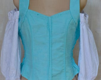 Blau und weiß, Fräulein, Heidi, Lochstickerei Anglais, Spitze, Bluse, tailliert, Sommer, halb freistehende Ärmel, kontrastierenden Farben.
