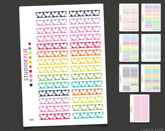 Hearts  Border Sticker -  To suit Erin Condren Life Planners & others - Repositionable Matte Vinyl