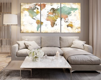 World map words etsy the pastel color world map canvas print 3 piece push pin world map print gumiabroncs Choice Image