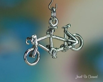 Sterling Silver Tandem Bicycle Charm Two Person Bike 3D Solid .925
