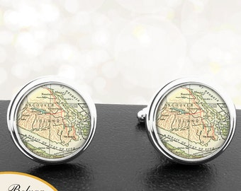 Map Cufflinks Vancouver Islands WA Cuff Links State of Washington for Groomsmen Wedding Party Fathers Dads Men