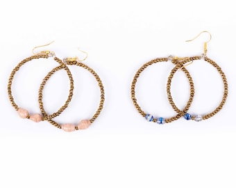 Alterf earrings - pink and blue