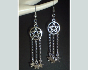 Silver Pentagram Earrings , Star Earrings , Celestial Earrings , Pagan Earrings , Wiccan Earrings , Wiccan Jewelry , Handmade Jewelry