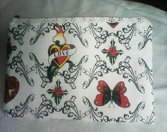 clutch-zippered bag fabric coated