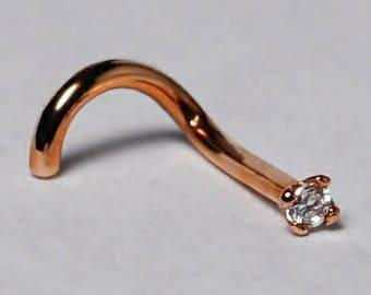 Solid 14K Rose Gold Nose Screw Stud Ring CZ Crystal 10 Gauge