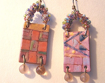 Geometric Patchwork Rectangle Earrings