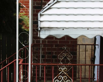 Chicago Photography, mid-century, front porch, house, home, ironwork, awning, red, white, scalloped, photo - VINTAGE FRONT PORCH