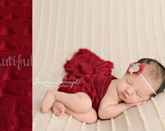 Ruffle Stretch Fabric Wrap Red Newborn Photography Prop Posing Swaddle