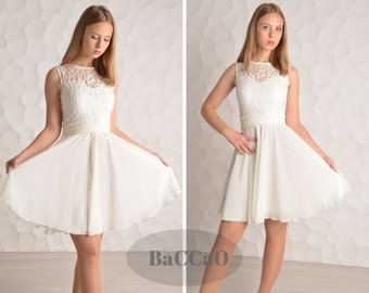 Short White Prom Dress White lace Homecoming Dress White Cheap Prom Dress White Short Homecoming Dress Short Chiffon Dress A-line Dresses