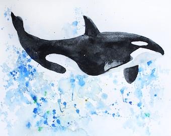 Sale Original Art, Whale watercolor, whale art, Fish watercolor, fish art, fish watercolor, whale watercolor, for home decor Art OOAK