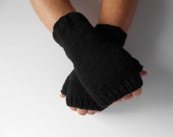 Men's Knit Fingerless Gloves. Gift for Dad.  Hobo Gloves.  Men's Texting Gloves. Men's Black knit gloves. Handknit Mittens. Knitted Gloves.