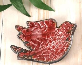 Ring Dish, Red Bird Ceramic Trinket Dish, Bird Dish, Pottery Ring Dish, Jewelry Dish, Gift For Mom, Bridesmaid Gift