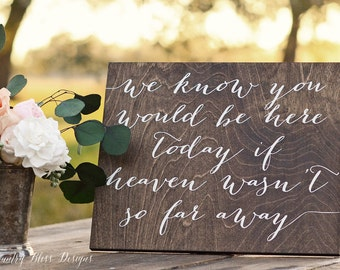 We Know You Would Be Here Today if Heaven wasn't so Far Away Sign, In Loving Memory Sign, Forever in Our Hearts Sign, Wooden Weeding Signs