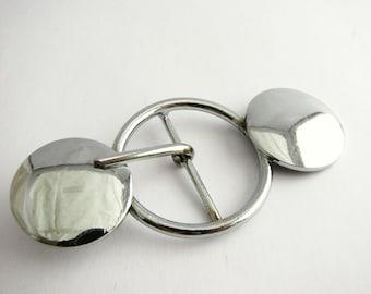 Large silver metal buckle, Fun belt buckle with decorative discs, unused!