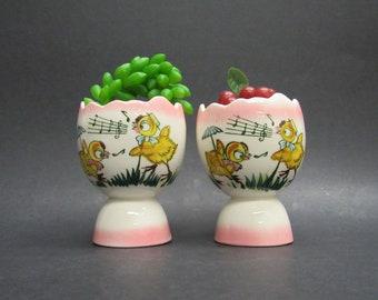 Vintage Kitsch Singing Chicks Egg Cups, Set of 2 (E9895)
