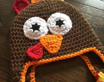 Turkey Hat, Turkey Beanie, Thanksgiving Hat, Baby Turkey Hat, Fall Hat, Crochet Turkey Beanie