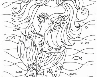 Mermaid coloring pages - embroidery pattern - Mermaid art - digital ...