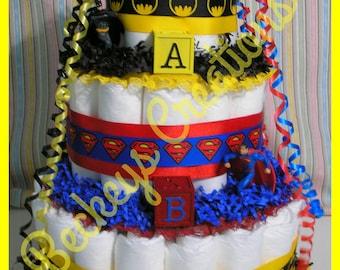 Superhero Diaper Cake 3 Tier Super Hero