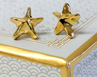 Star Stud Earrings, 22K Gold Plated Brass Sea Star Earrings, Star Jewelry, Gold Stud Earrings, Star Ocean Dream Earrings, Starfish Earrings