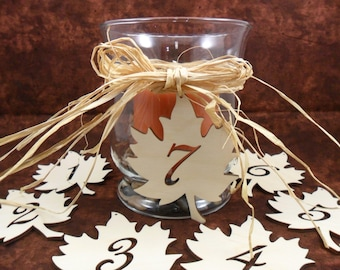"Wood Leaf Wedding Table Number Sign Laser Cut Wood Maple Leaves 4"" H - Numbers 1-8"
