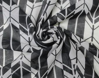 Black White Arrowhead Chiffon Fabric Style 8045