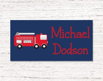 40 Waterproof Baby Bottle Labels - Dishwasher Safe - Sippy Cup Labels - Daycare School Name Labels -  Firetrucks 0012
