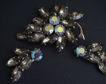 Vintage, Juliana AB Smokey Rhinestone Cluster Brooch and Clip On Earrings