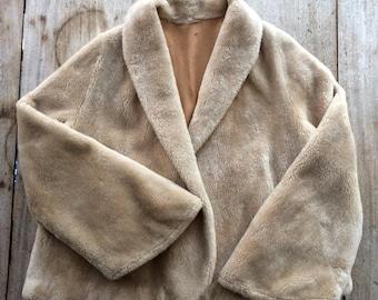 Vintage Shawl Collar Faux Fur Jacket, Shrug Jacket