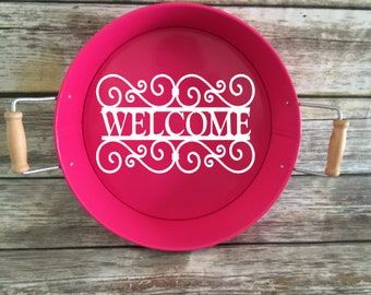 Personalized Serving Tray, Metal Serving Tray, Round Tray, Patio Decor, Housewarming Gift, Summer Decor, Wedding Gift, Mother's Day Gift
