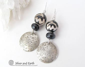 Sterling Silver Earrings with Onyx & Faceted Agate Stones, Black Onyx Earring, Handmade Silver Jewelry, Black Silver Earrings, Agate Jewelry