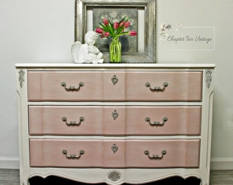 SOLD Hand Painted, French Provincial Dresser, Girl's Dresser, Child's Dresser, Nursery Dresser