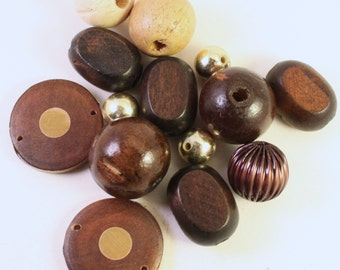 Assorted  Dark Brown, Tan and Gold Wood, Acrylic and Metal Beads, Mixed Shapes, Wholesale