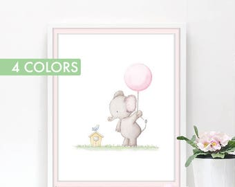 Girl nursery art, Baby elephant nursery decor, Baby Girl room wall art, Baby Prints