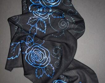 Wool wrap,Painted scarf,Wool scarf,Long black scarf,Winter scarf,Blue Rose scarf,Sparkling scarf,Extra long scarf,Evening scarf,Gift for her