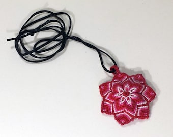 Macrame Mandala Pendant - Shades of Red