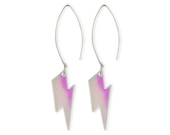 Lightning Bolt Earrings - Iridescent Aurora Borealis Holographic Bowie Long Colorful 90s Retro Transparent Perspex Acrylic Stormy Feelings