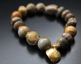 SALE Originally 58.00 Now 39.00 - Jasper and Basha bead bracelet - Hill Tribe vermeil heart charm bracelet - fall bracelet - urban safari